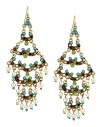 Rj Graziano R.J. Graziano Layered Scallop Crystal Beaded Chandelier Earrings