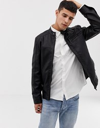 Only And Sons Faux Leather Racer Jacket Black