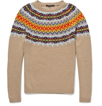 Gucci Knitted Wool And Cashmere Blend Fair Isle Sweater Brown