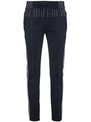 Valentino Track Pants With Contrasting Stitch Polyester Spandex Elastane Blue