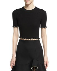 Alexander Wang Ball Chain Embellished Crop Top Onyx