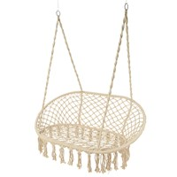 Amara Outdoor Hanging 2 Seat Chair With Fringing Cream