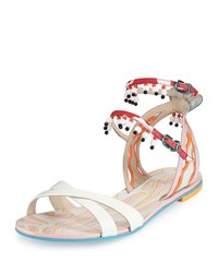Sophia Webster Nereida Beaded Ankle Wrap Sandal White