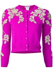 Oscar De La Renta Floral Threadwork Cardigan Pink Purple