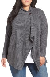 Bobeau Plus Size Women's One Button Textured Cardigan Charcoal