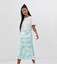 Bershka Tie Dye Satin Skirt In Blue Blue