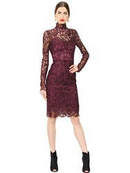 Dolce And Gabbana Cordonetto Lace Dress With Turtleneck Dark Purple