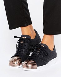 Adidas Originals Black Metallic Superstar Trainers With Rose Gold Toe Cap Black