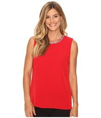 Calvin Klein Embellished Shell Blouse Rouge Women's Blouse Red