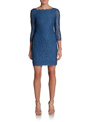 Adrianna Papell V Back Lace Dress Prussian