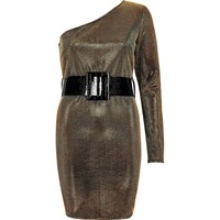 River Island Womens Gold One Sleeve Belted Bodycon Dress