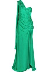 Amanda Wakeley One Shoulder Draped Silk Georgette Gown Green