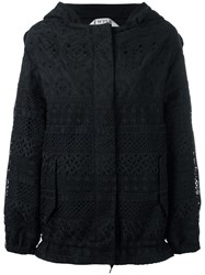 N 21 No21 Perforated Design Hooded Jacket Black