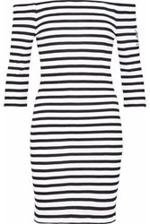 Zoe Karssen Off The Shoulder Embroidered Striped Waffle Knit Mini Dress White
