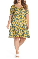 Glamorous Plus Size Button Front Pineapple Print Dress Yellow Pineapple