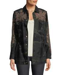 Johnny Was Miloqui Camo Print Floral Embroidered Jacket Plus Size Forest Camo