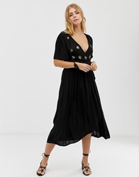 Raga A Touch Of Gold Embroidered Maxi Wrap Dress Black