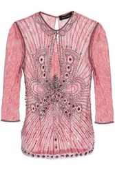 Jenny Packham Embellished Tulle And Lace Top Pink
