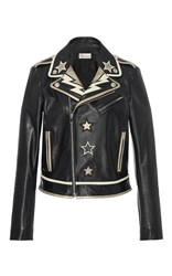 Red Valentino Leather Moto Jacket With Star And Lightening Bolt Intarsia Multi
