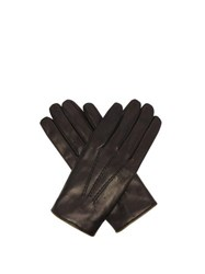 Dolce And Gabbana Cashmere Lined Leather Gloves Black
