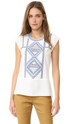 Veronica Beard Baha Flutter Cap Sleeve Top White