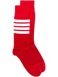 Thom Browne 4 Bar Stripe Lightweight Cotton Mid Calf Socks Red
