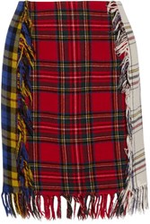 Moschino Fringed Checked Flannel Skirt Multi