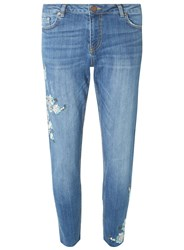 Dorothy Perkins Mid Wash Darcy Aqua Floral Embroiered Ankle Grazer Jeans Blue