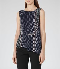 Reiss Eames Womens Printed Sleeveless Top In Blue