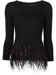 Carolina Herrera Feather Hem Detailing Top Black