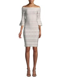 Herve Leger Off The Shoulder Bell Sleeve Tiled Jacquard Body Con Cocktail Dress White Pattern