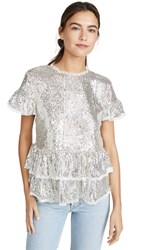 Endless Rose Sequin Tiered Blouse Silver