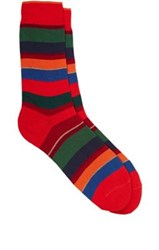 Barneys New York Men's Variegated Stripe Cotton Blend Mid Calf Socks Red