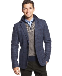 Tommy Hilfiger Devenport Wool Checked Blazer Peacoat