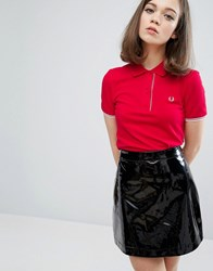 Fred Perry Authentic Gingham Trim Pique Polo Shirt England Red