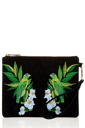 Oasis Palm Bird Embroidered Clutch Black