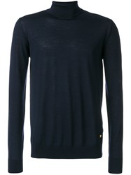 Versace Turtleneck Slim Fit Jumper Wool Blue