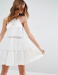 Asos Sundress With White Lace Inserts And Pom Poms White
