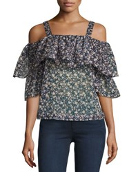 Robert Rodriguez Floral Print Cold Shoulder Top Multicolor Pattern Multi Pattern