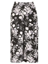Izabel London Wide Leg Trousers With Poppy Print Black