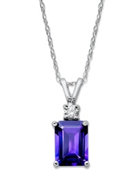 Macy's 14K White Gold Necklace Amethyst 1 5 8 Ct. T.W. And Diamond Accent Pendant