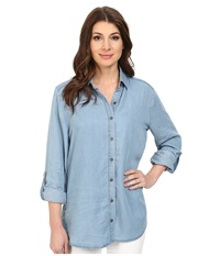 Miraclebody Jeans Lolita Lace Insert Top W Body Shaping Inner Shell Tacoma Women's Long Sleeve Button Up Blue