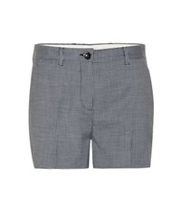 Miu Miu Wool Blend Houndstooth Shorts Blue