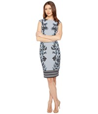 Vince Camuto Printed Extended Cap Sleeve Bodycon Blue Multi Women's Dress