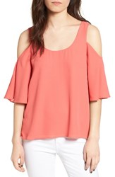 Chelsea 28 Women's Chelsea28 Chiffon Cold Shoulder Top Coral Spice