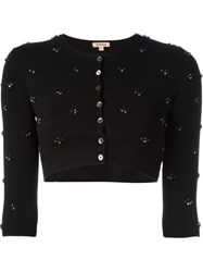 P.A.R.O.S.H. Cropped Embellished Cardigan Black