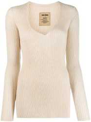 Uma Wang Ribbed Knitted Jumper Neutrals