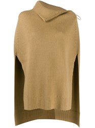 Paco Rabanne Roll Neck Poncho Top Neutrals