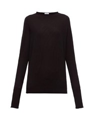 Raey Sheer Raw Edge Crew Neck Cashmere Sweater Black