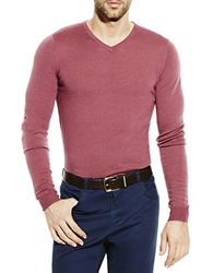 Vince Camuto Wool V Neck Sweater Red